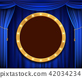 Gold round banner with light bulbs 42034234