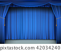 Blue cinema curtain with the stage. 42034240