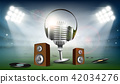 Audio speakers and a microphone with headphones 42034276