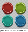 Set of colored wax seal isolated on transparent 42034295