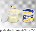 realistic illustration of plastic transparent buckets with food products 42035255