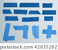 illustration set of different slices of a adhesive tape with shadow and wrinkles 42035262