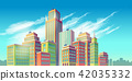cartoon illustration, banner, urban background with modern big city buildings 42035332