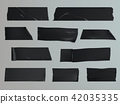 illustration set of different slices of a adhesive tape with shadow and wrinkles 42035335