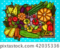 cartoon illustration of various vegetables whole and sliced on a wooden background. 42035336