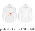 Set of illustrations of a white shirt with a red spot and clean, before and after a dry-cleaner s 42035348