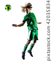 young teenager soccer player man silhouette isolated 42035834