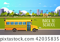 yellow bus back to school pupils transport concept on cityscape background flat lettering horizontal 42035835