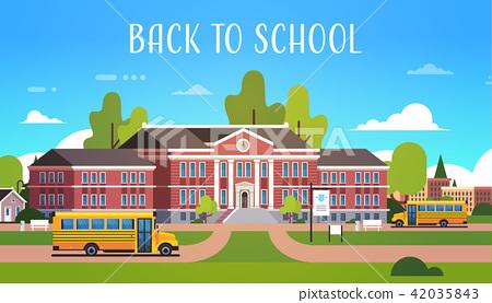 yellow bus in front of school building exterior pupils transport concept 1 september flat horizontal 42035843