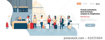 check in registration airport group mix race passengers standing in queue departures board concept 42035904