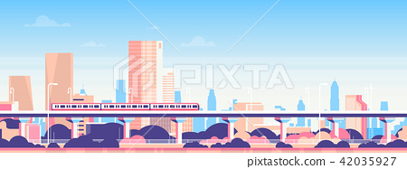 Subway over city skyscraper view cityscape background skyline flat banner 42035927