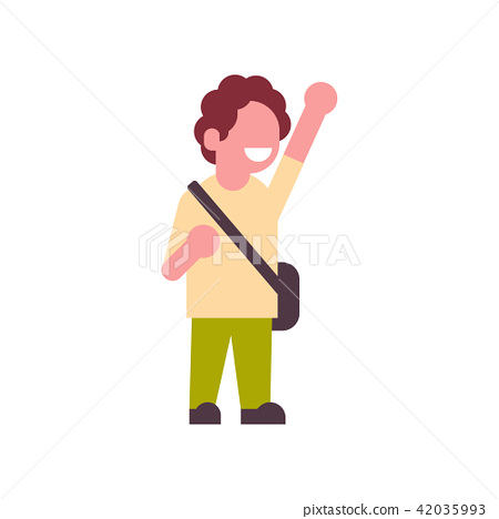 boy backpack raising hand up school children isolated small primary student over white background 42035993