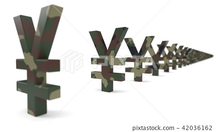 yuan currency sign with army camouflage paint. economy war concept. 3d illustration. 42036162