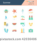Summer icons. Flat design collection 19.  42036406
