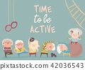 Cartoon elderly people doing exercises 42036543