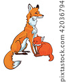 Mother fox is sitting with her little cub.  42036794