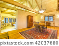 Dining room with vaulted ceilings and modern 42037680