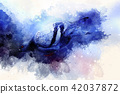 pigeon and softly blurred watercolor background. Blue color background. 42037872