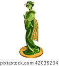 Geisha figurine made of jade isolated on white background. Statuette of nephrite in the Oriental 42039234