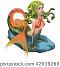 mermaid, vector, cartoon 42039269