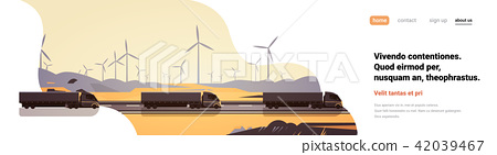 Black semi truck trailers driving road countryside wind turbines landscape banner copy space 42039467
