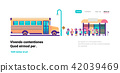 yellow bus station back to school pupils transport concept on cityscape mix race group background 42039469