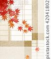 일본 - 배경 - 미닫이 - 밀기울 - 단풍 42041802