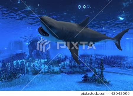 Great white shark underwater 3d illustration 42042006