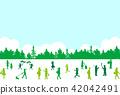 인물 실루엣 숲 42042491