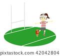 橄欖球 一個年輕成年女性 踢 42042804