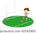 橄欖球 一個年輕成年女性 踢 42042805