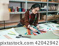 fashion designer choosing zipper 42042942