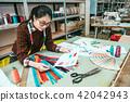 designer sit in the desk to choose the fit zipper 42042943