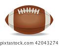 美式足球球(水平)|真實插圖|矢量數據 42043274