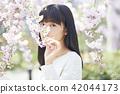 樱花和女性肖像 42044173