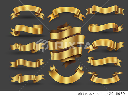 Gold ribbon banners collection. 42046070