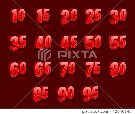 Set of number 3D vector 42046140