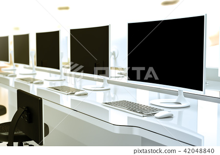 Work desk with PC blank screen  42048840