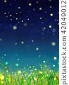 배경 소재 초원 반딧불 42049012
