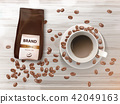 Vector promotion banner with coffee cup and beans 42049163