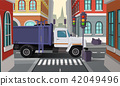 Vector rubbish truck on crossroad, municipal service 42049496