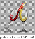 Set transparent glasses with white and red wine with a splash out of them 42050740