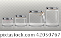 Set of transparent glass jars for storage of food products, canning and preserving, 42050767