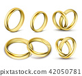 Set of realistic illustrations of gold wedding rings with shadow 42050781
