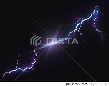 illustration of a realistic style of bright glowing lightning isolated on a dark, natural light 42050784
