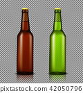 realistic illustration set of transparent glass bottles with drinks, ready for branding 42050796