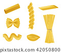illustration set of realistic icons of dry macaroni, pasta of various kinds 42050800