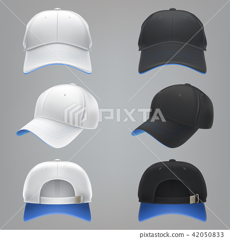 realistic illustration of a white and black textile baseball cap front, back and side view 42050833