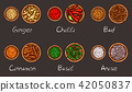 illustration of a variety of spices and herbs in wooden bowls on a black background 42050837
