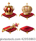 Set of realistic illustrations, golden royal crown icons, royal scepter and red velvet ceremonial 42050863